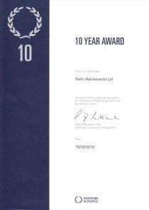Investor In People - 10 Years